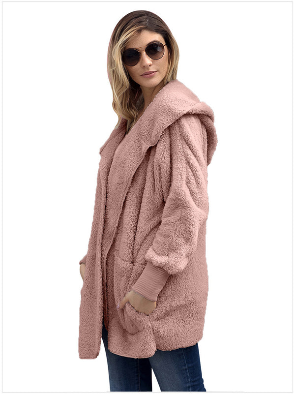 Hooded Long-sleeved Plush Cardigan