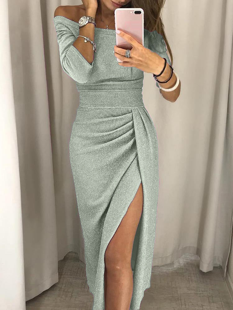Hip-length Collar Solid color Evening Dress