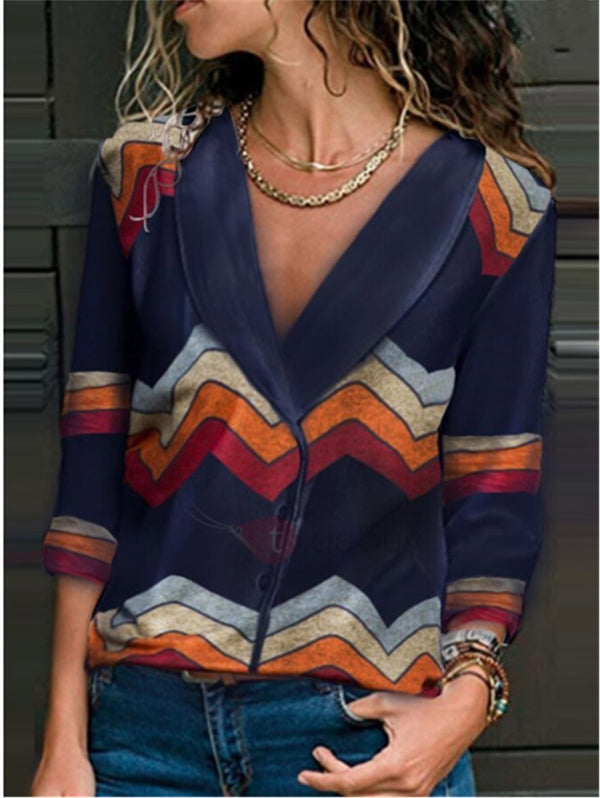 Slim Long Sleeved V-neck Printed Chiffon Sweater