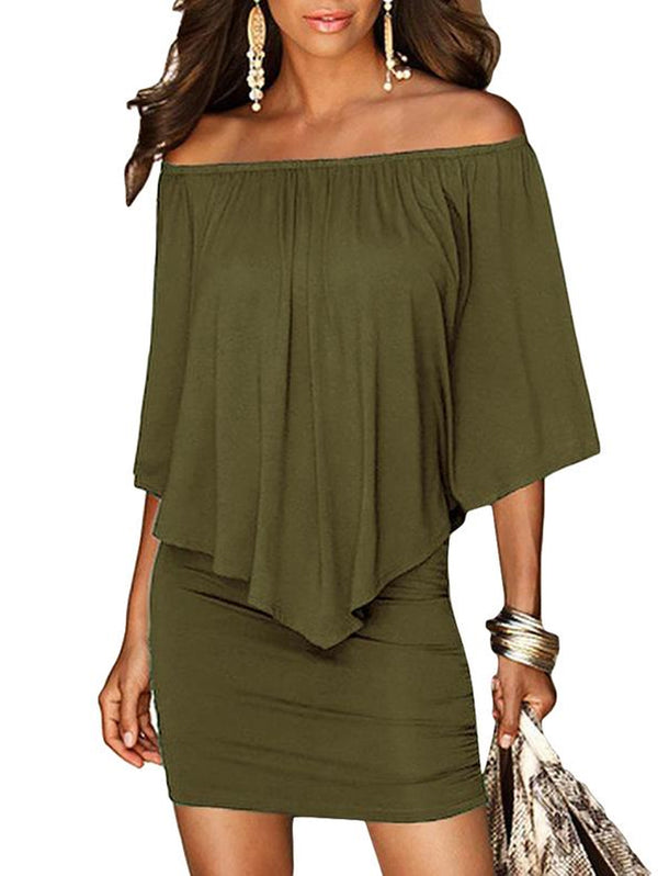 Off Shoulder Slash Neck Women Mini Dress