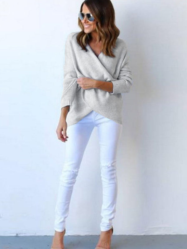 V-neck Chest Cross Long Sleeve Pullover Loose Sweater