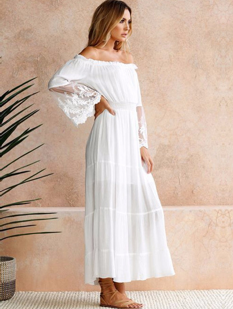 Off Shoulder Lace Boho Cotton Maxi Dress