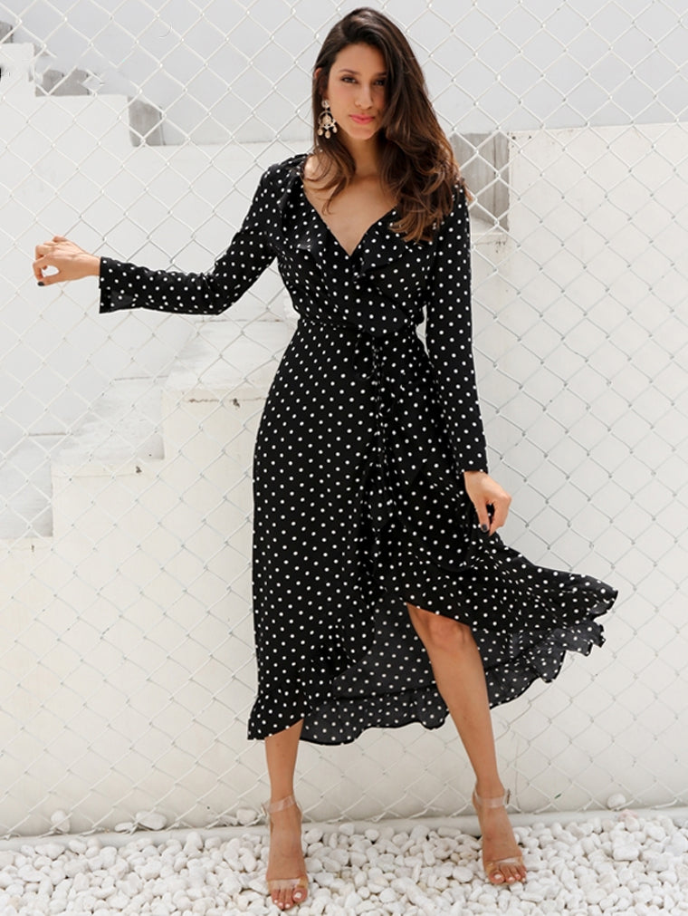 Casual Polka Dot Ruffle Wrap Maxi Dress