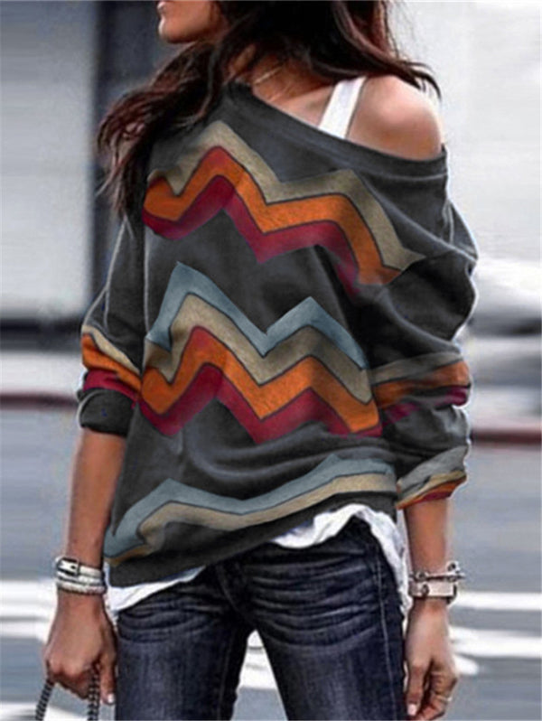 Long Sleeve Geometric Print Knit T-shirt Top
