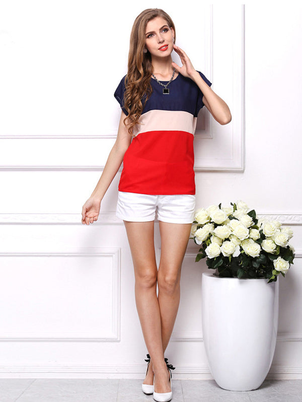 Round Neck Color Matching T-Shirt