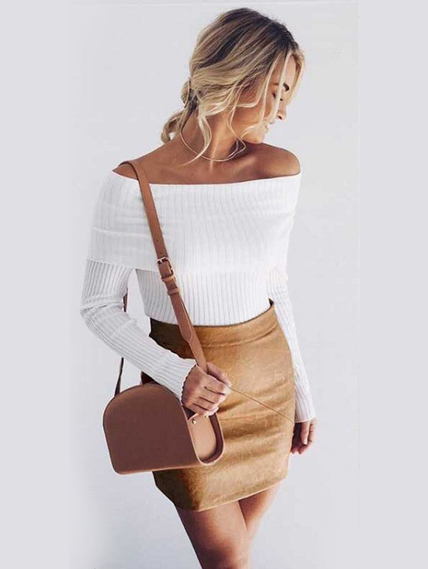 Sexy Off-The-Shoulder Tight Knit Sweater