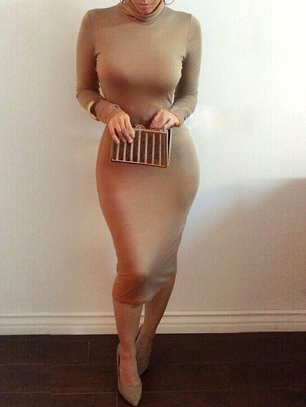 Long Sleeve Sexy Solid Color Bodycon Dress