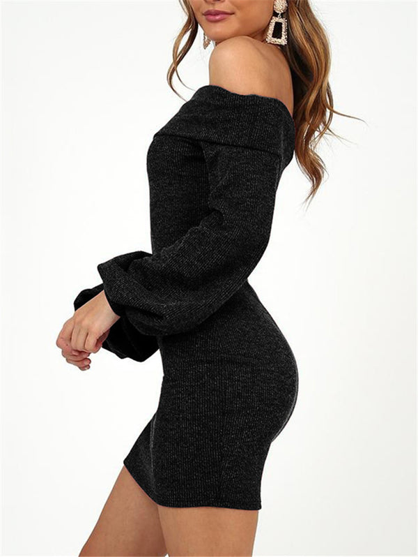 Solid Color Off-the-shoulder Long Sleeve Slim Dress