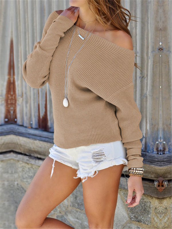 Sexy Off The Shoulder Long-sleeved Knitwear