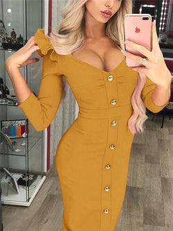 V-neck Three-Quarter Sleeve Bodycon Dress