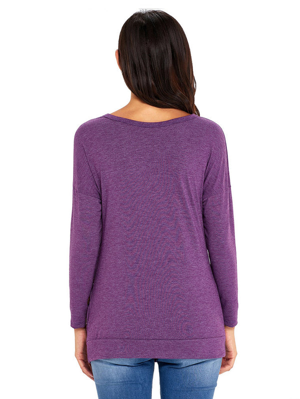 Long-Sleeved Round Neck Solid Color Button Large Size Women's T-Shirt