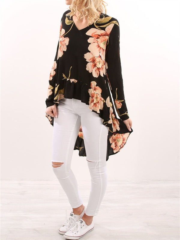 V-neck Printed Loose Casual Dress