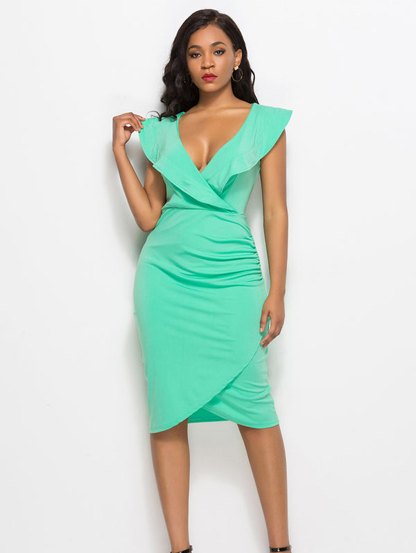 Sexy V-neck Ruffled Sleeveless Bodycon Dress