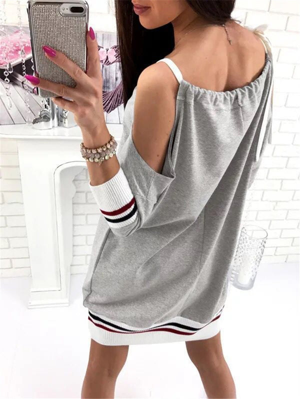Long Sleeve Strapless Loose Dress