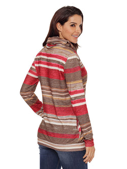 Multicolor Striped Mooded Cape Long Sleeve Women's Sweater