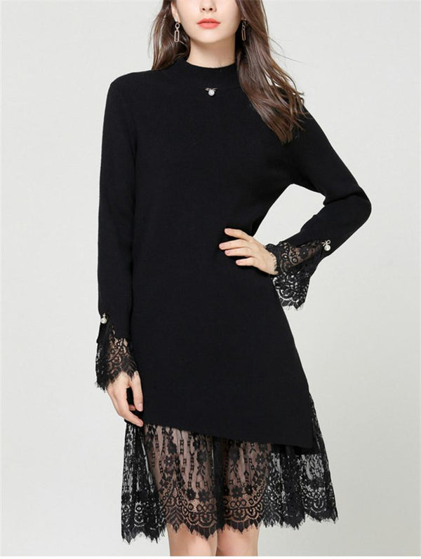 Slim Lace Stitching Solid Color Woolen Dress