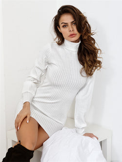 Fashion Solid Color Turtleneck Sweater Dress