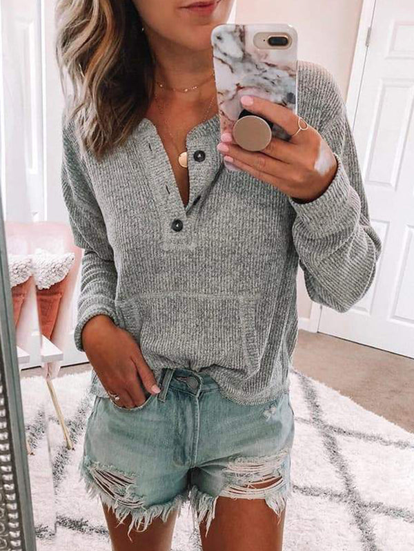Plain Color Buttoned Long-Sleeved Shirt