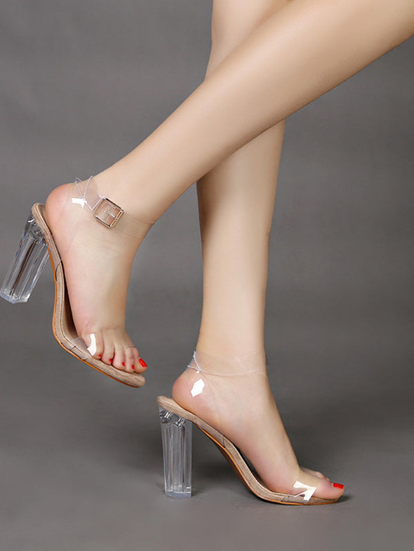 Transparent Ankle Strap Peep Toe Heeled Sandals