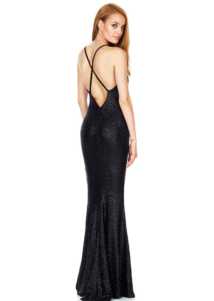 Open Back Sexy Deep V-Neck Dress