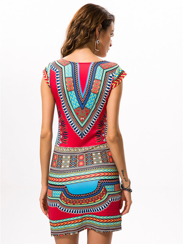 Printed V-neck Slim Dress