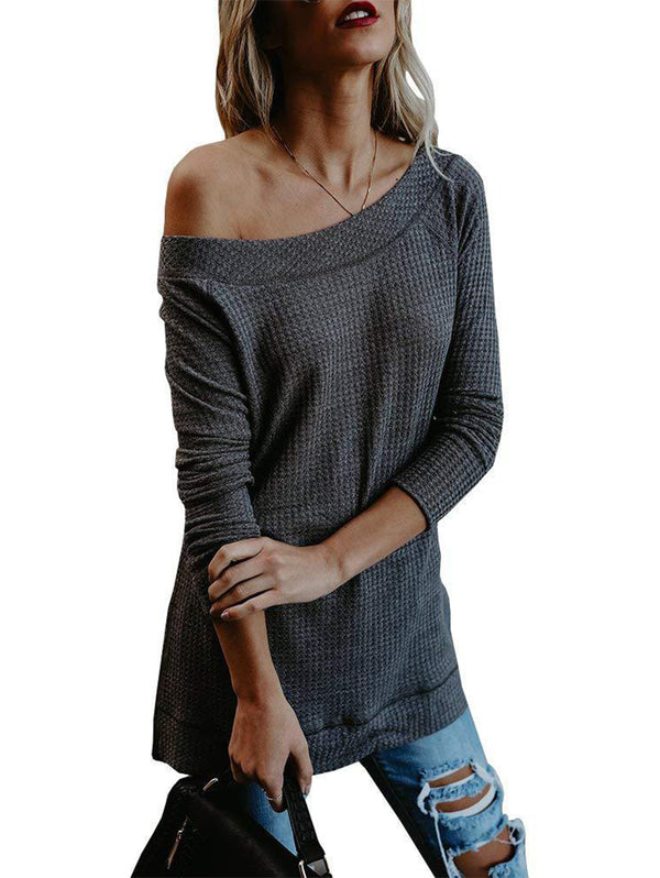 Off-Shoulder Long-Sleeved Knit Sweater