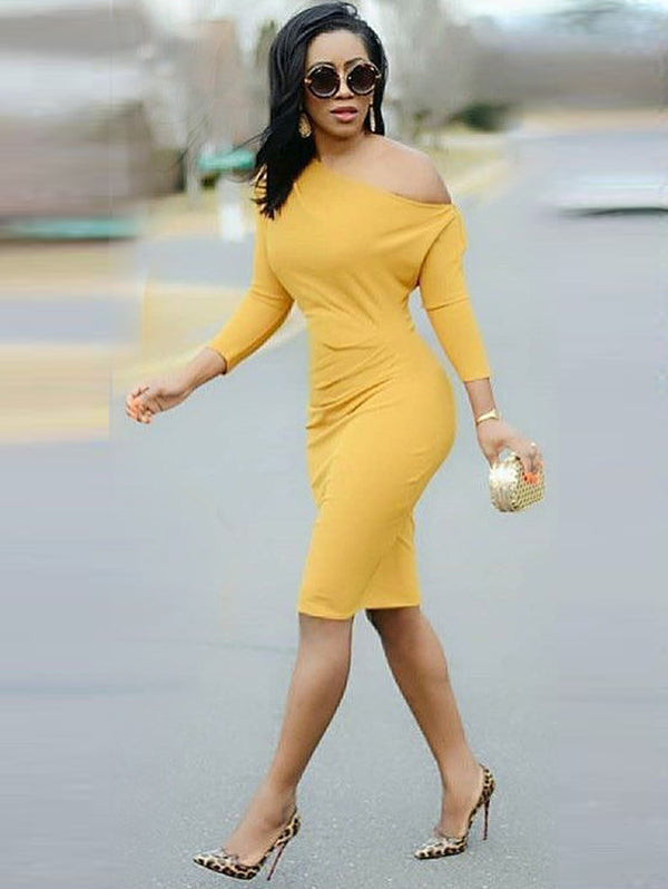 Elegant Solid Color Shoulder Bodycon Dress