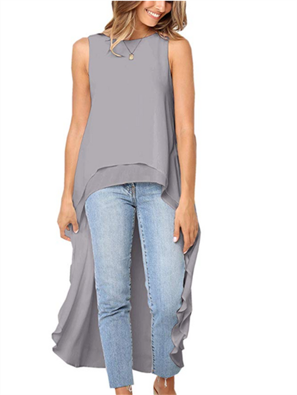 Ruffled Sleeveless Asymmetric Shirt(Presale)