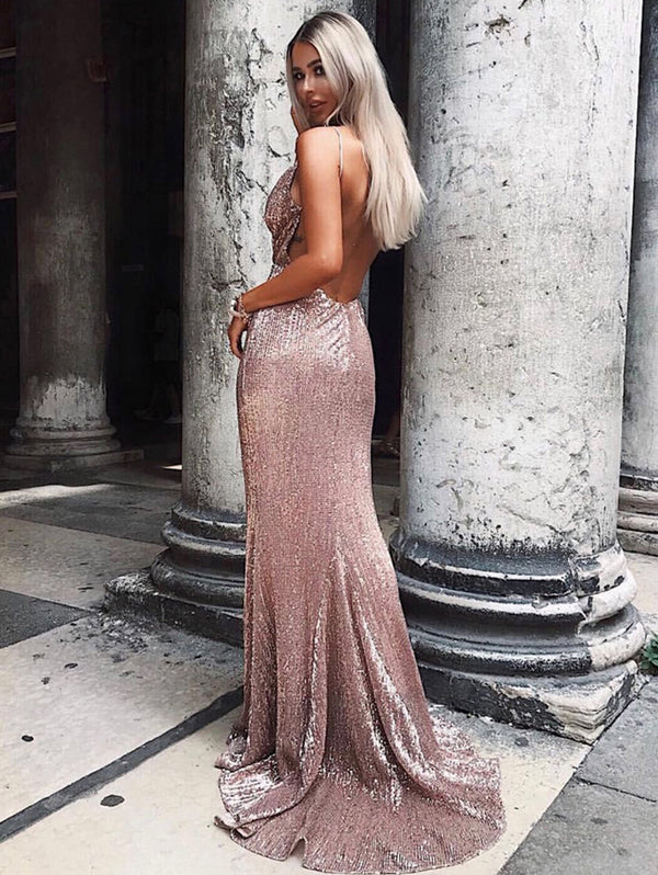 Deep V Backless Sequin Mopping Evening Dress