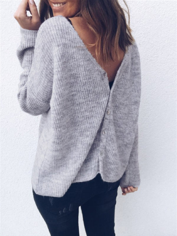 Sexy V-neck Cardigan Button Long Sleeve Sweater