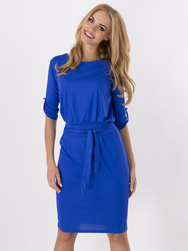 Round Neck Solid Color Bodycon Dress (with belt)