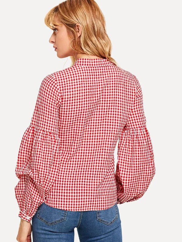Band Collar Plaid Bishop Sleeve Shirts