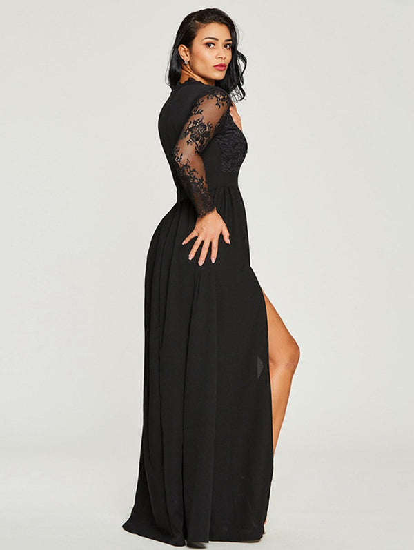Black Elegant Lace Maxi Dress