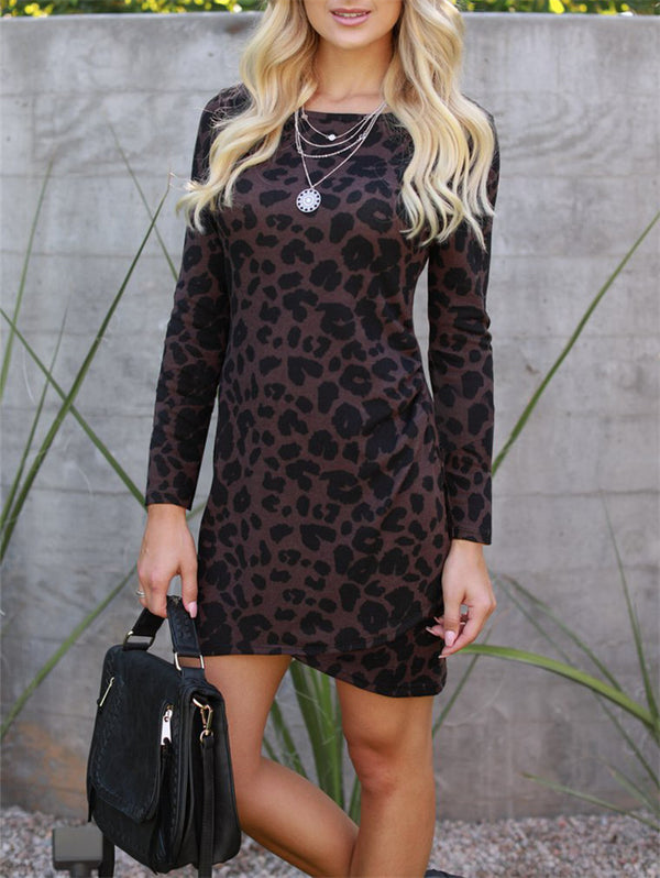 Sexy Leopard Print Long Sleeve Bodycon Dress