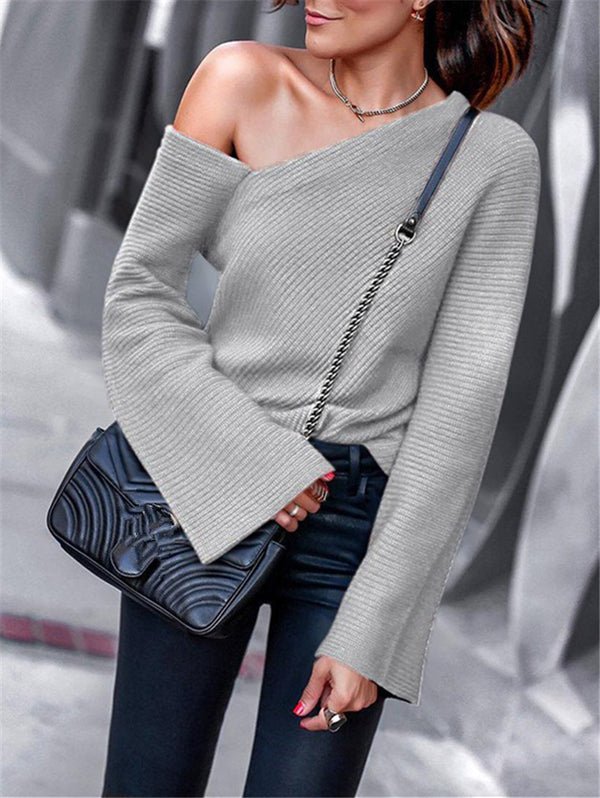 Long Sleeve Off-the-shoulder Knitwear