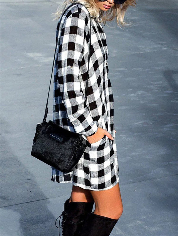 Vintage Plaid Shirt Long Sleeve Dress
