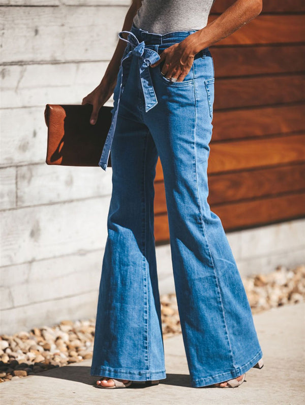 High-Rise Slim-Fit Wide-Leg Jeans