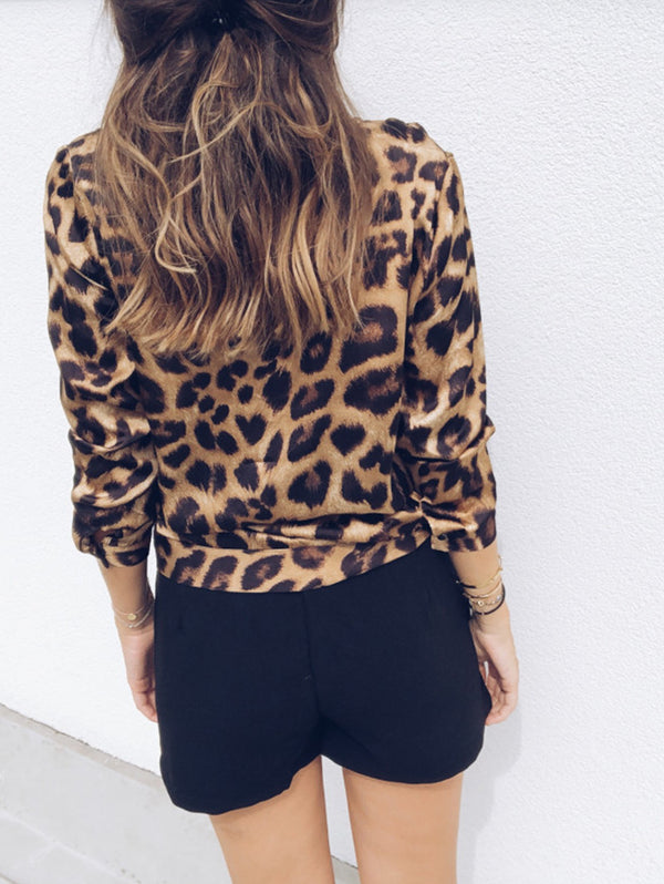 Leopard V-Neck Long-Sleeved Shirt
