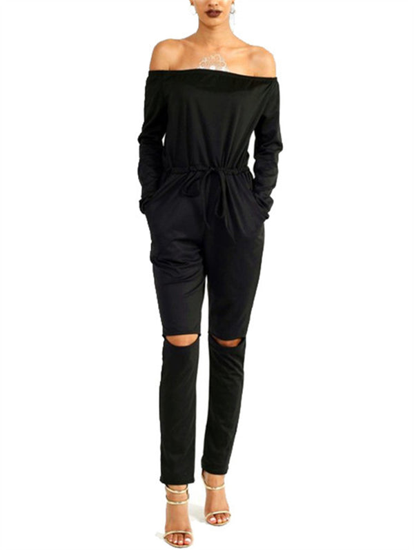 Solid Color Off The Shoulder Slim Jumpsuit