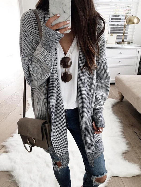 Plaid Cardigan Woolen Coat