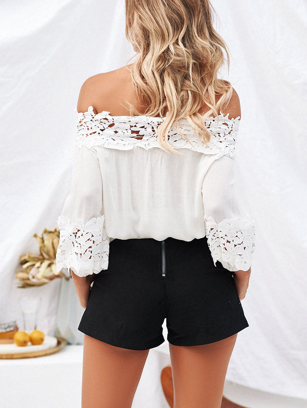 Off Collar Loose Lace Long Sleeve Blouses