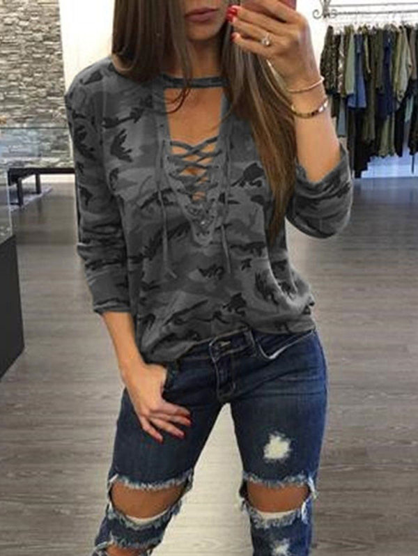 Camouflage Deep V Hollow Straps Long Sleeve T-shirt