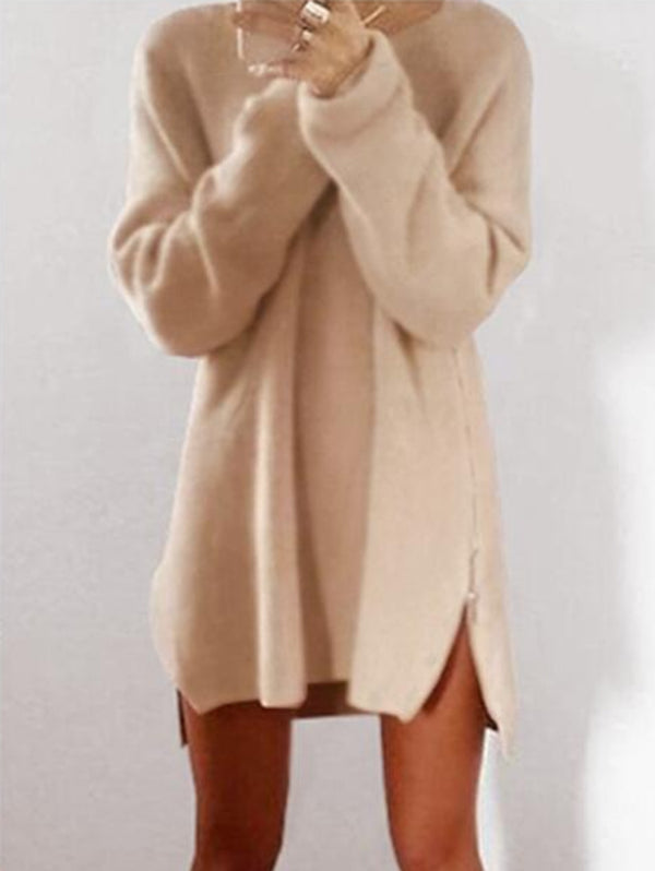 Loose Zip Sweater Dress