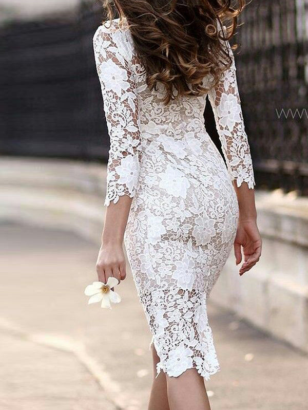 Sexy Lace Long Sleeve Pencil Bodycon Dress