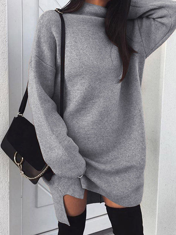 Large Size Loose Turtleneck Split for Autumn Winter Casual Dress