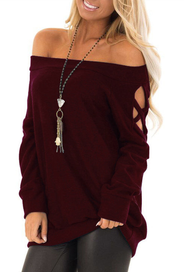 One-Shoulder Strapless Long-Sleeved T-shirt