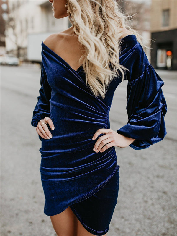 Solid Color Loose V-neck Dress