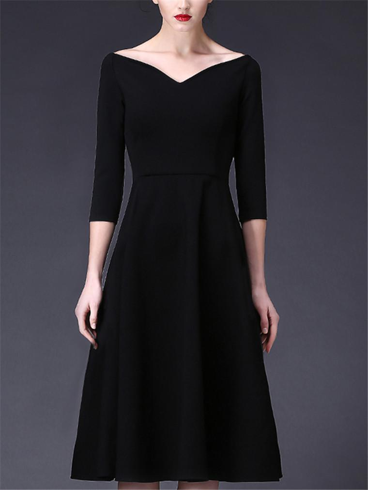 Hepburn Elegant Black Dress