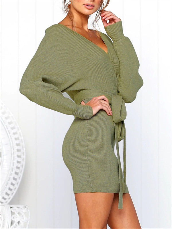 Sexy V-neck Long Sleeve Short Dress