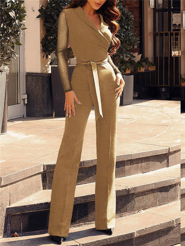 V-neck Splicing Long Sleeve Jumpsuit